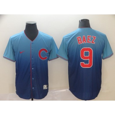 MLB Cubs 9 Javier Baez Blue Drift Fashion Men Jersey