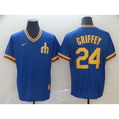 MLB Mariners 24 Ken Griffey Jr. Blue Nike Cooperstown Collection Legend V-Neck Men Jersey