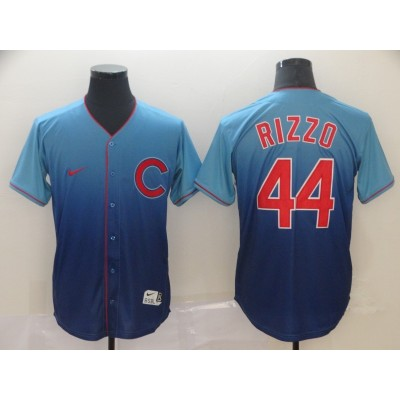 MLB Cubs 44 Anthony Rizzo Blue Drift Fashion Men Jersey