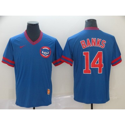 MLB Cubs 14 Ernie Banks Blue Nike Cooperstown Collection Legend V-Neck Men Jersey