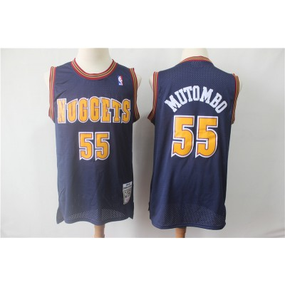 NBA Nuggets 55 Dikembe Mutombo Navy Throwback Men Jersey