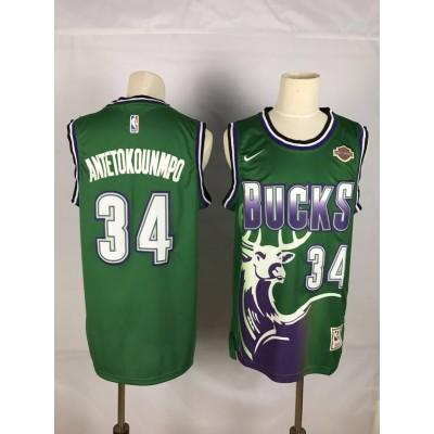 NBA Bucks 34 Giannis Antetokounmpo Green Nike Men Jersey