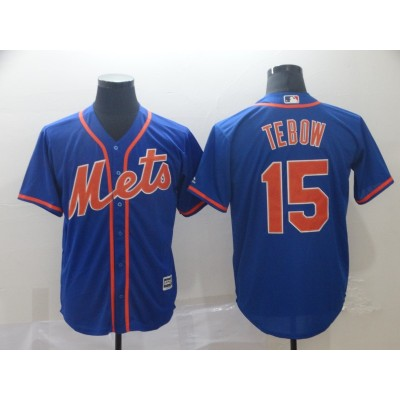 MLB Mets 15 Tim Tebow Royal Cool Base Men Jersey