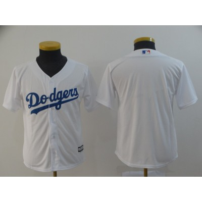 MLB Dodgers Blank White New Cool Base Youth Jersey