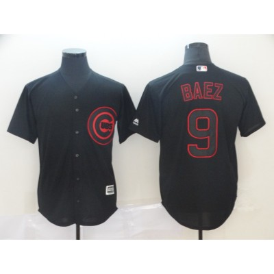 MLB Cubs 9 Javier Baez Black Shadow Cool Base Men Jersey