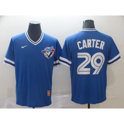 MLB Blue Jays 29 Joe Carter Blue Nike Cooperstown Collection Legend V-Neck Men Jersey