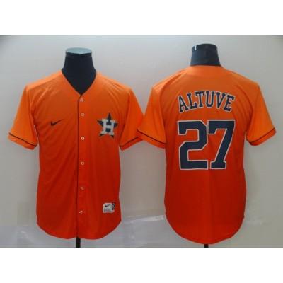 MLB Astros 27 Jose Altuve Orange Drift Fashion Men Jersey