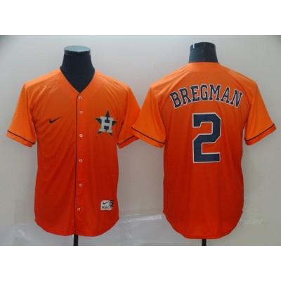 MLB Astros 2 Alex Bregman Orange Drift Fashion Men Jersey