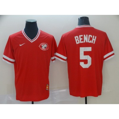 MLB Reds 5 Johnny Bench Red Nike Cooperstown Collection Legend V-Neck Men Jersey