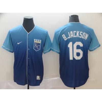 MLB Royals 16 Bo Jackson Blue Drift Fashion Men Jersey