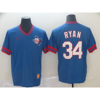 MLB Rangers 34 Nolan Ryan Blue Nike Cooperstown Collection Legend V-Neck Men Jersey