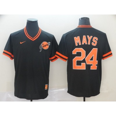 MLB Giants 24 Willie Mays Black Nike Cooperstown Collection Legend V-Neck Men Jersey