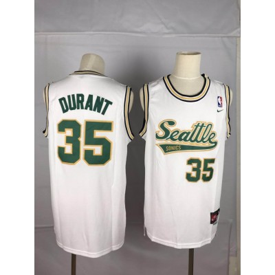 NBA Supersonics 35 Kevin Durant White Nike Men Jersey