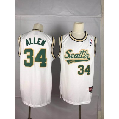 NBA Supersonics 34 Ray Allen White Nike Men Jersey