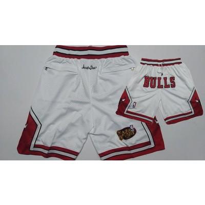 NBA Bulls White 1997 NBA Finais Patch Mesh Shorts