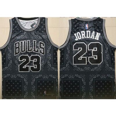 NBA Bulls 23 Michael Jordan Black Fashion Swingman Men Jersey