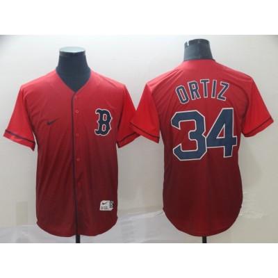 MLB Red Sox 34 David Ortiz Red Drift Fashion Men Jersey