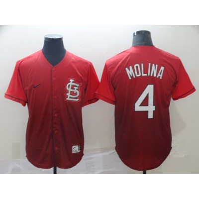 MLB Cardinals 4 Yadier Molina Red Drift Fashion Men Jersey