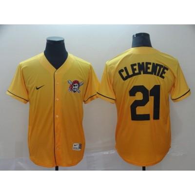MLB Pirates 21 Roberto Clemente Yellow Drift Fashion Men Jersey