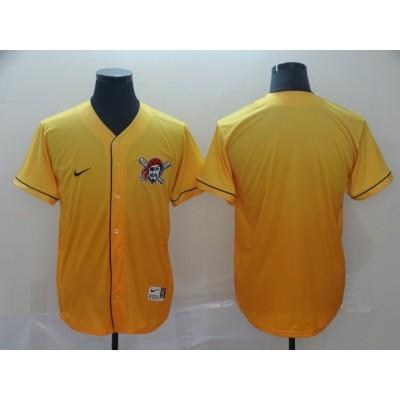 MLB Pirates Blank Yellow Drift Fashion Men Jersey