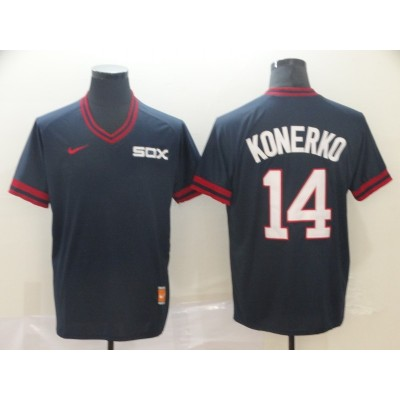 MLB White Sox 14 Paul Konerko Navy Nike Cooperstown Collection Legend V-Neck Men Jersey