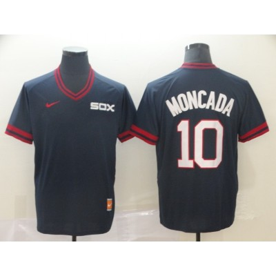 MLB White Sox 10 Yoan Moncada Navy Nike Cooperstown Collection Legend V-Neck Men Jersey