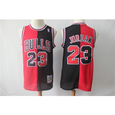 NBA Bulls 23 Michael Jordan Red Black Split Hardwood Classics Men Jersey