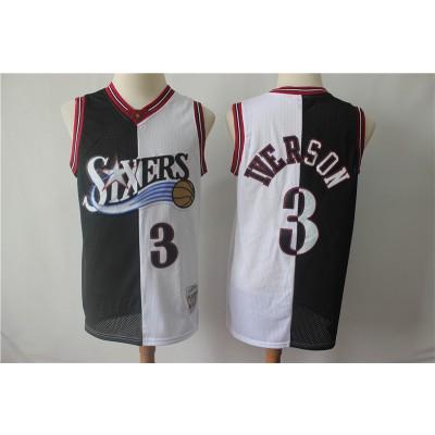 NBA 76ers 3 Allen Iverson White Black Split Hardwood Classics Men Jersey