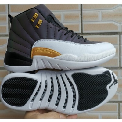 Air Jordan 12 Lighting Gray White Gold Shoes