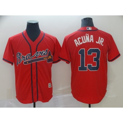 MLB Braves 13 Ronald Acuna Jr. Red New Cool Base Men Jersey