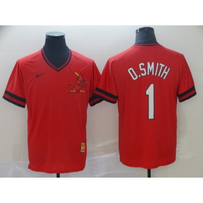 MLB Cardinals 1 Ozzie Smith Red Nike Cooperstown Collection Legend V-Neck Men Jersey