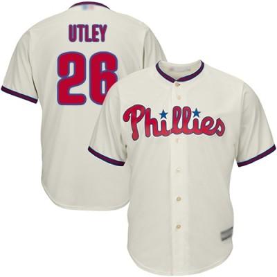 MLB Phillies 26 Chase Utley Cream Cool Base Men Jersey