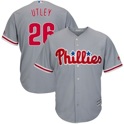 MLB Phillies 26 Chase Utley Gray Cool Base Men Jersey