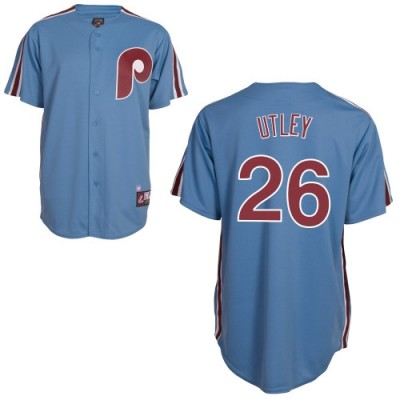 MLB Phillies 26 Chase Utley Blue Cooperstown Collection Cool Base Men Jersey
