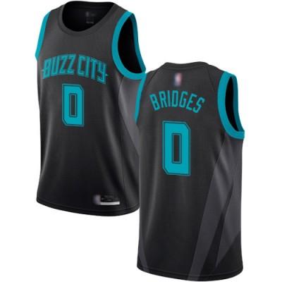 NBA Hornets 0 Miles Bridges Black Men Jersey