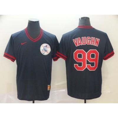 MLB Indians 99 Ricky Vaughn Navy Nike Cooperstown Collection Legend V-Neck Men Jersey