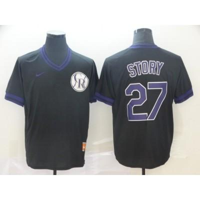 MLB Rockies 27 Trevor Story Black Nike Cooperstown Collection Legend V-Neck Men Jersey