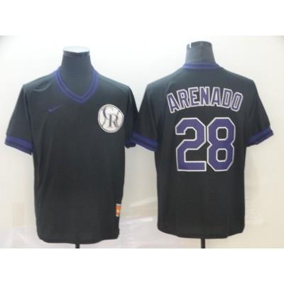 MLB Rockies 28 Nolan Arenado Black  Nike Cooperstown Collection Legend V-Neck Men Jersey