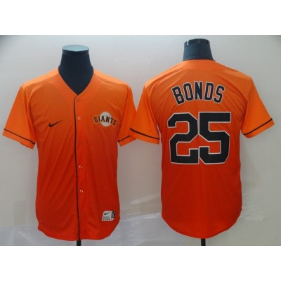 MLB Giants 25 Barry Bonds Orange Drift Fashion Men Jersey