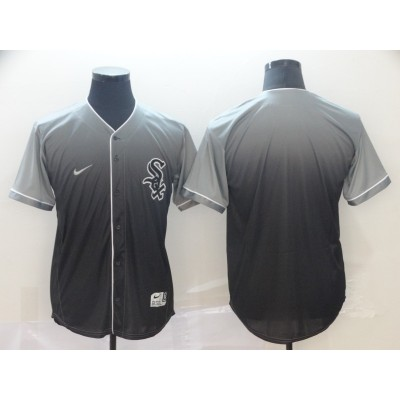 MLB White Sox Blank Gray Drift Fashion Men Jersey