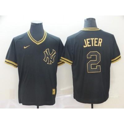 MLB Yankees 2 Derek Jeter Black Gold Nike Cooperstown Legend V Neck Men Jersey