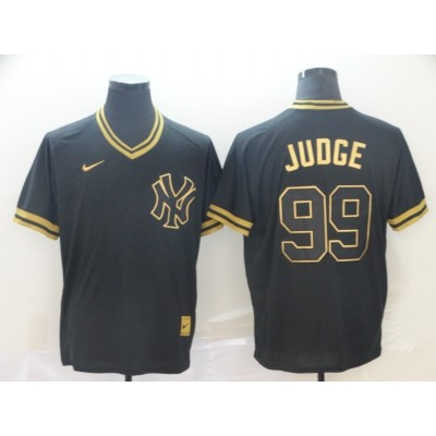 MLB Yankees 99 Aaron Judge Black Gold Nike Cooperstown Legend V Neck Men Jersey