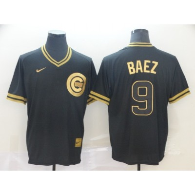 MLB Cubs 9 Javier Baez Black Gold Nike Cooperstown Legend V Neck Men Jersey