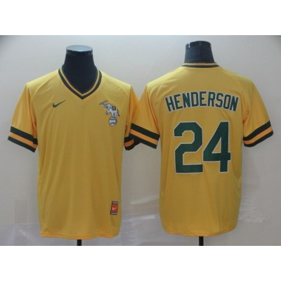 MLB Athletics 24 Rickey Henderson Yellow Nike Cooperstown Collection Legend V-Neck Men Jersey