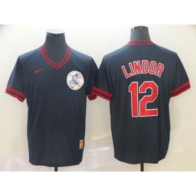 MLB Indians 12 Francisco Lindor Navy Nike Cooperstown Collection Legend V-Neck Men Jersey