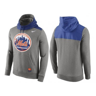 Nike New York Mets Grey Cooperstown Collection Hybrid Pullover Hoodie