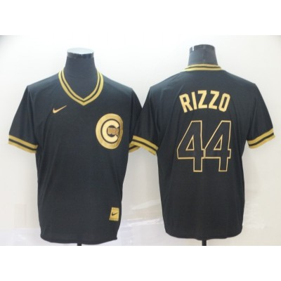 MLB Cubs 44 Anthony Rizzo Black Gold Nike Cooperstown Legend V Neck Men Jersey