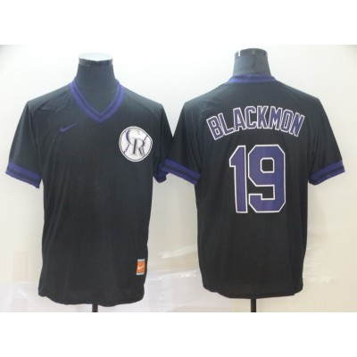 MLB Rockies 19 Charlie Blackmon Black Nike Cooperstown Collection Legend V-Neck Men Jersey