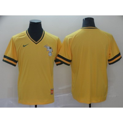 MLB Athletics Blank Yellow Nike Cooperstown Collection Legend V-Neck Men Jersey