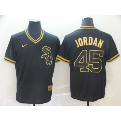 MLB White Sox 45 Michael Jordan Black Gold Nike Cooperstown Legend V Neck Men Jersey
